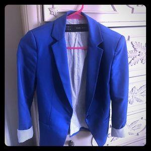LIKE NEW: XS Zara Blue Blazer with Stripe Lining
